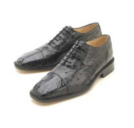 SKU#WJK611 Oxfords  Black Croc/Ostrich Lace-Up $339