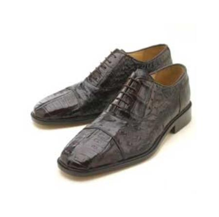 SKU#HJU501 Oxfords  Dark Brown Croc/Ostrich Lace-Up $339