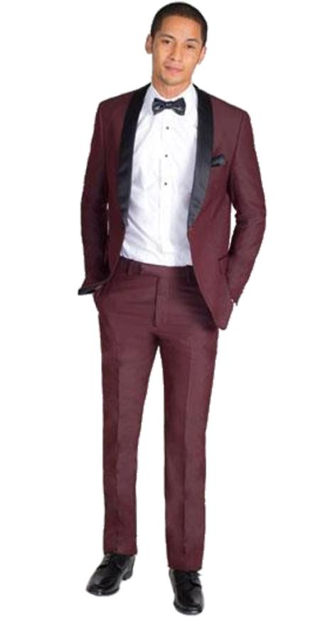Burgundy Velvet Suit Shawl Lapel tuxedo Suit Looking Jacket & Pants