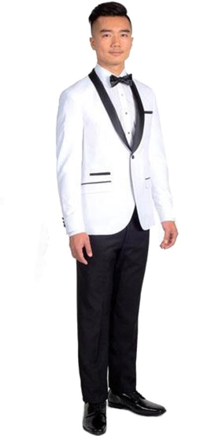 Mens Single Breasted White Slim Fit 1 Button Tuxedo with Black Shawl Lapel