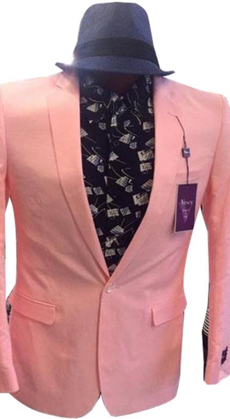 Mens Pink Cheap Priced Designer Fashion Dress Casual Blazer For Men On Sale One Button Notch Lapel  Blazer