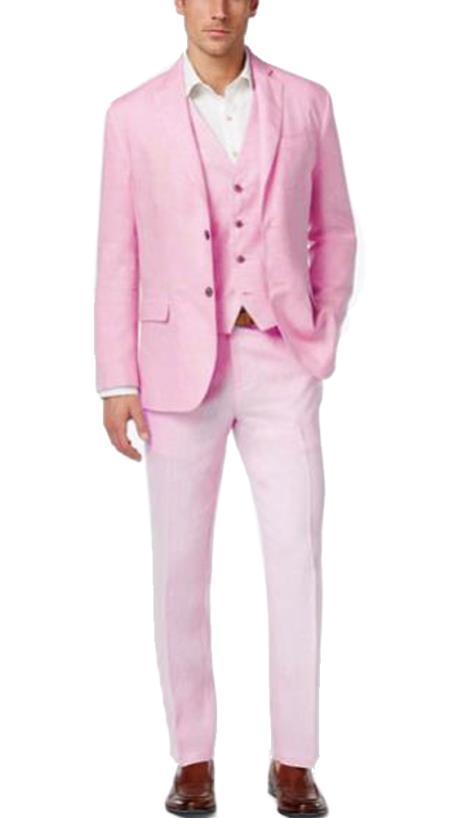 Buy EK01 Alberto Nardoni Mens Summer Baby pink Color Linen Fabric Vested Three 3 Piece Suit Jacket + Vest+ Pants