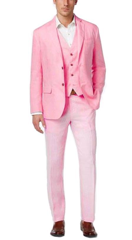 Buy EK07 Alberto Nardoni Mens Summer Linen Fabric Vested Three 3 Piece Suit Pink Color Jacket + Vest+ Pants