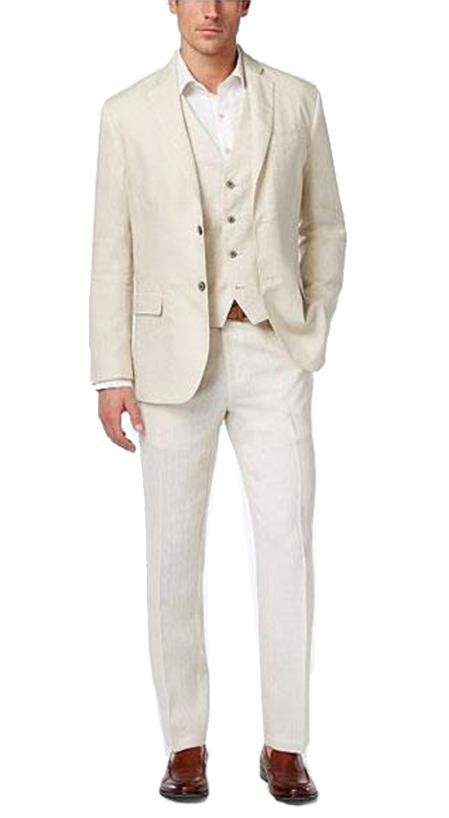 Summer Linen Fabric Vested Three 3 Piece Suit Jacket + Vest+ Pants + Cream ~ Ivory ~ Off White Color by Alberto Nardoni