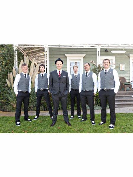 Mens  Matching Grey ~ Gray Dress Tuxedo Wedding Vest ~ Waistcoat ~ Waist coat Black Pants Set