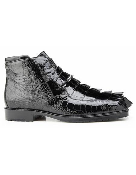 Authentic Genuine Skin Italian Mens Genuine Hornback and Genuine Ostrich Lace Up Black Rubber Sole boot