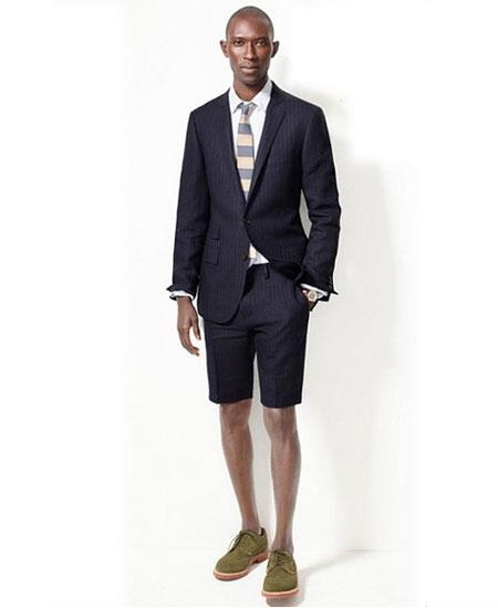 SKU#GD1817 Men's Navy Blue Summer Business Suits With Shorts Pants Set (Sport Coat Looking)