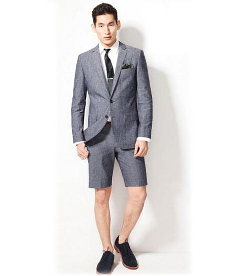 SKU#GD1818 Men's Summer Business Gray Suits With Shorts Pants Set (Sport Coat Looking)