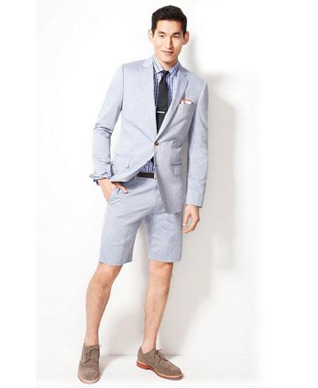 SKU#GD1819 Men's Summer Business Suits With Shorts Pants Set (Sport Coat Looking) Light Gray