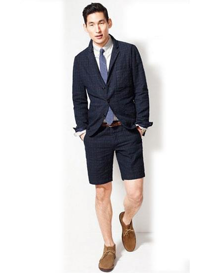 SKU#GD1820 Men's Summer Business Suits With Navy Blue Shorts Pants Set (Sport Coat Looking)