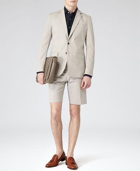 SKU#GD1822 Men's Gray Summer Business Suits With Shorts Pants Set (Sport Coat Looking)