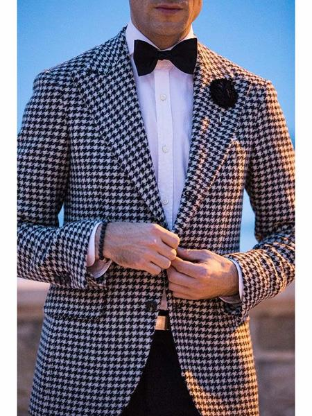 Mens Two Button houndstooth checkered Designed  Black ~ White Blazer