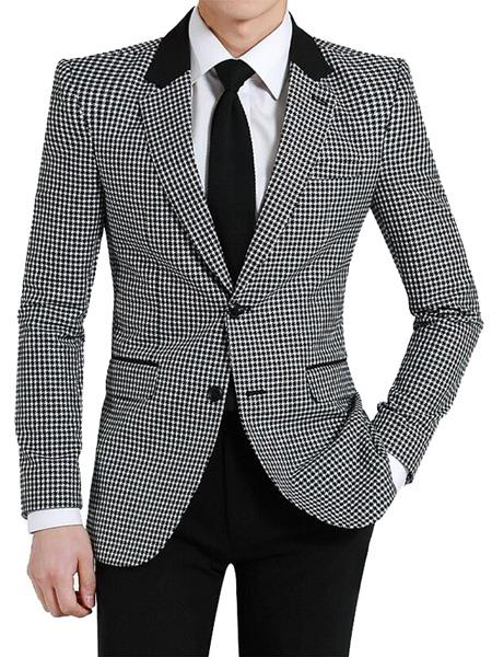 Mens Two Button houndstooth checkered Designed Notch Lapel Black ~ White Blazer