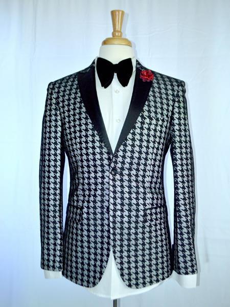 Mens Two Button houndstooth checkered Designed Black Blazer