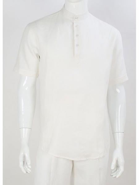 Mens Safari Short Sleeve Casual Shirt No Collar Banded Mandarin Collar Preacher Round Style Linen Suit Shirt & Pants White