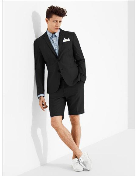 SKU#MO604 men's summer business suits with shorts pants set (sport coat Looking) Black