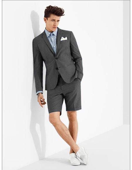 SKU#MO606 men's summer business suits with shorts pants set (sport coat Looking) Charcoal Grey