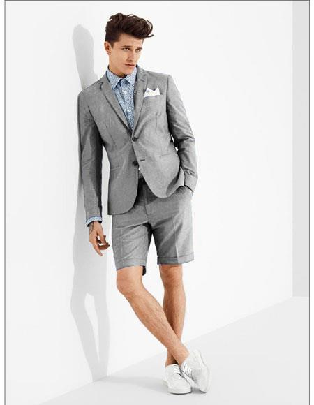 SKU#MO608 men's summer business suits with shorts pants set (sport coat Looking) Light Grey