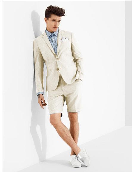 mens summer business suits with shorts pants set (sport coat Looking) Off white ~ Ivory