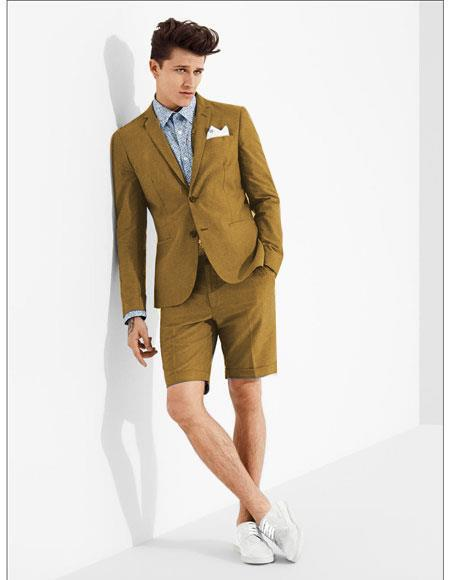 SKU#MO610 men's summer business suits with shorts pants set (sport coat Looking) Light Tan