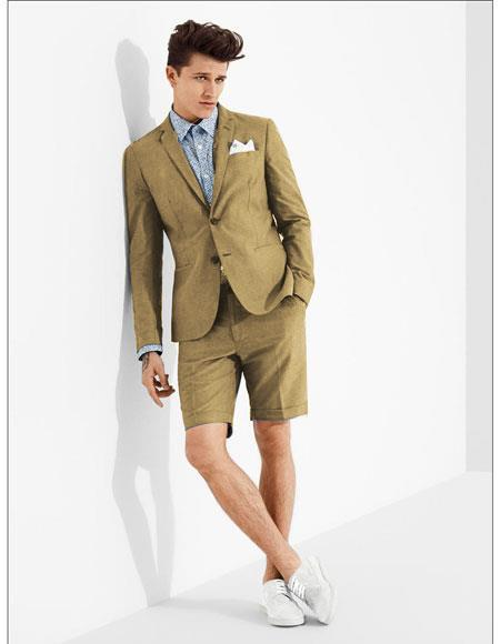 SKU#MO611 men's summer business suits with shorts pants set (sport coat Looking) Sand