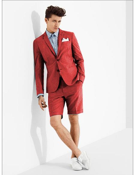 SKU#MO612 men's summer business suits with shorts pants set (sport coat Looking) Red