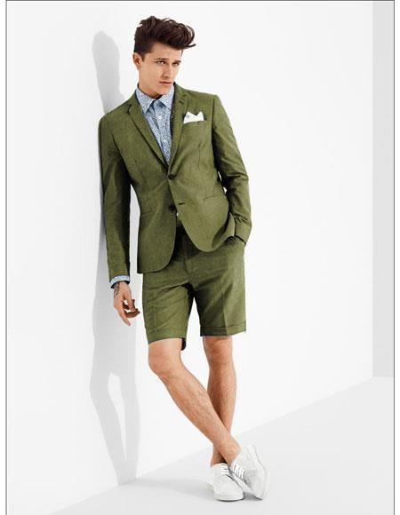 SKU#MO613 men's summer business suits with shorts pants set (sport coat Looking) Olive