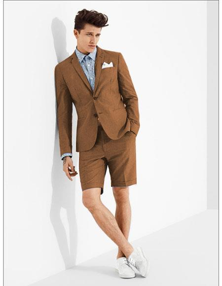 SKU#MO614 men's summer business suits with shorts pants set (sport coat Looking) Brown