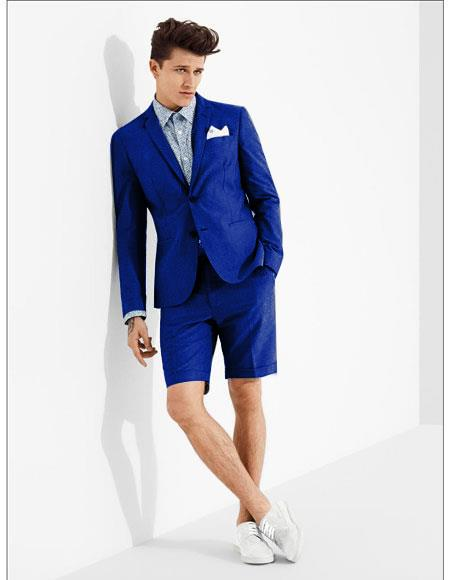 SKU#MO615 men's summer business suits with shorts pants set (sport coat Looking) Royal Blue