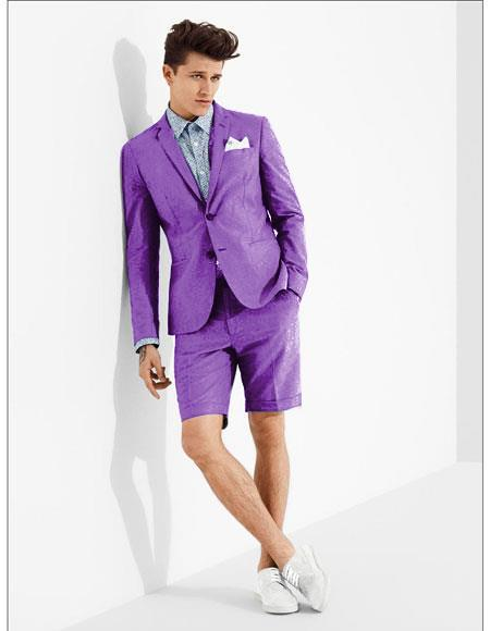 SKU#MO617 men's summer business suits with shorts pants set (sport coat Looking) Purple