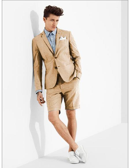 SKU#MO618 men's summer business suits with shorts pants set (sport coat Looking) Camel