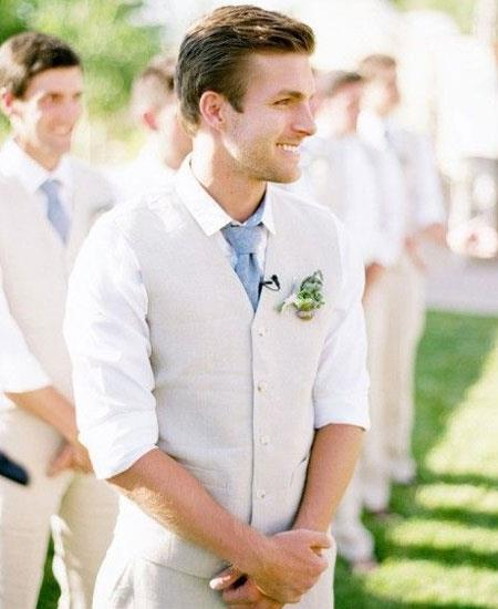 Mens Vest and Pants Set - Linen Outfits For Men Perfect for wedding Vest & Pants