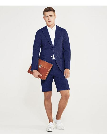 SKU#MO621 men's summer business suits with shorts pants set (sport coat Looking) Navy Blue