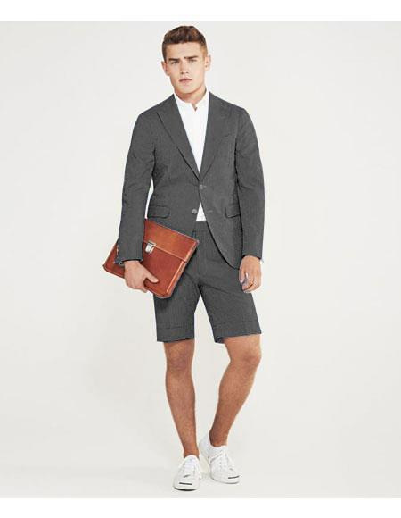SKU#MO622 men's summer business suits with shorts pants set (sport coat Looking) Charcoal