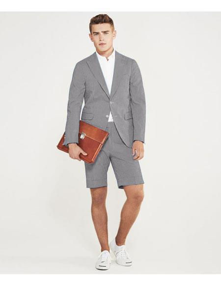SKU#MO623 men's summer business suits with shorts pants set (sport coat Looking) Grey