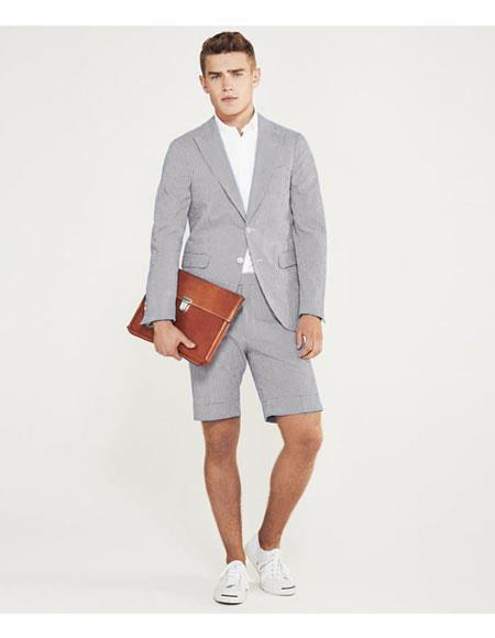 SKU#MO624 men's summer business suits with shorts pants set (sport coat Looking) Light Grey