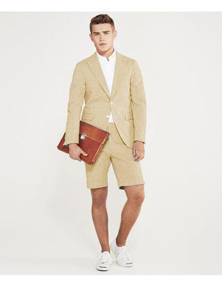 mens summer business suits with shorts pants set (sport coat Looking) Ivory