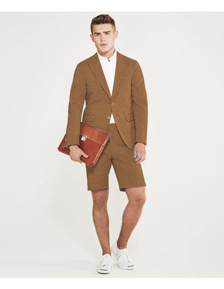 SKU#MO626 men's summer business suits with shorts pants set (sport coat Looking) Tan