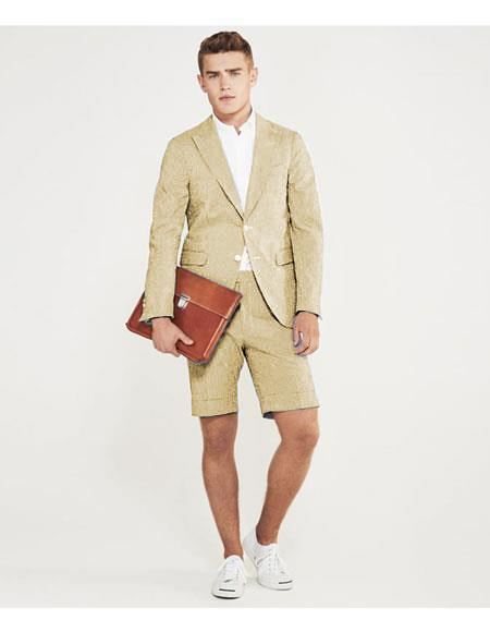 SKU#MO627 men's summer business suits with shorts pants set (sport coat Looking) Sand