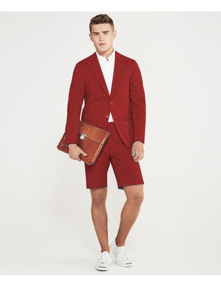 SKU#MO628 men's summer business suits with shorts pants set (sport coat Looking) Red