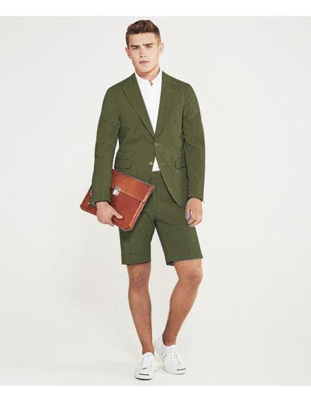 SKU#MO629 men's summer business suits with shorts pants set (sport coat Looking) Olive