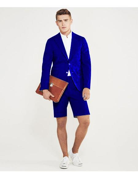 SKU#MO631 men's summer business suits with shorts pants set (sport coat Looking) Royal Blue