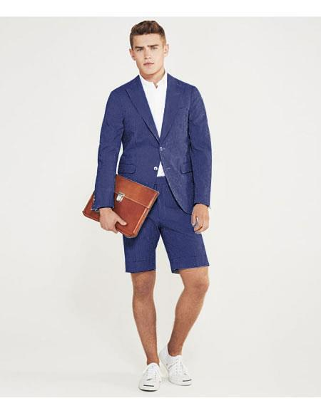 SKU#MO632 men's summer business suits with shorts pants set (sport coat Looking) Indigo