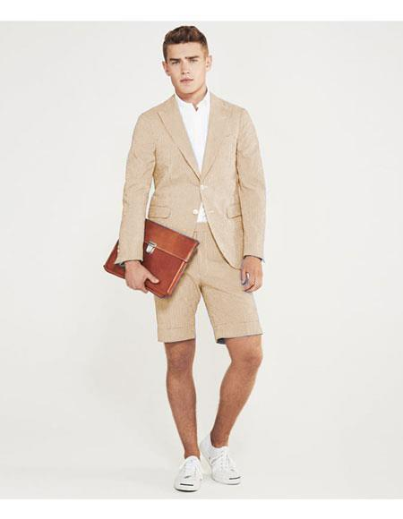 SKU#MO634 men's summer business suits with shorts pants set (sport coat Looking) Camel