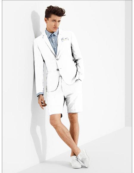 men's summer business suits with shorts pants set (sport coat Looking) White