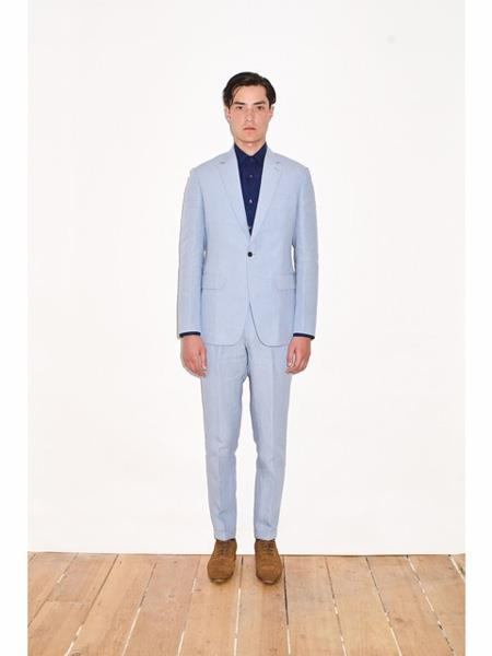 Mens Single Breasted Notch Lapel Sky Baby Blue Linen Suit