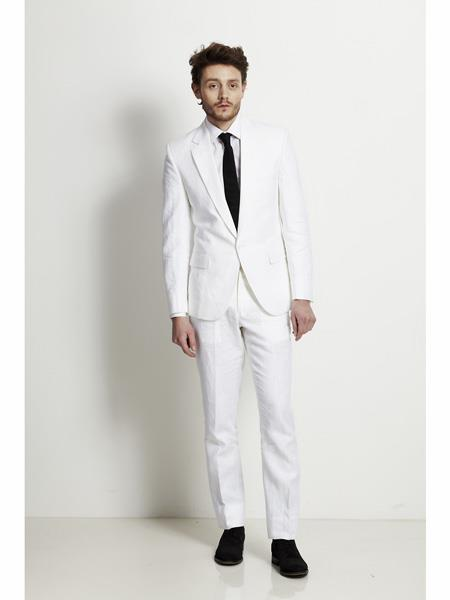 Mens Single Breasted Notch Lapel White Linen Suit