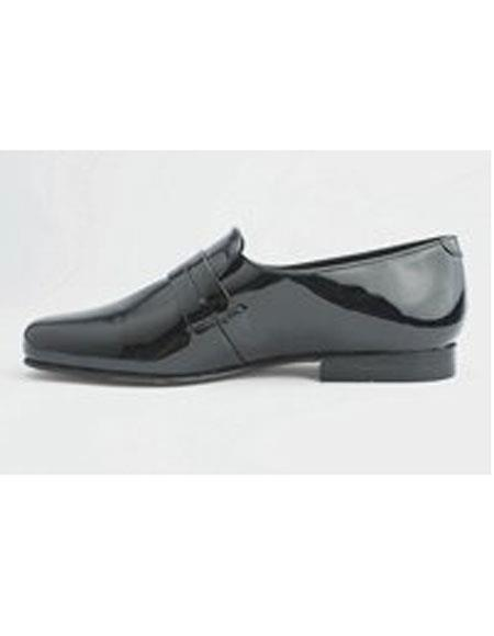 Mens Leather Sole Slip on Black Genuine Pattern Shoes
