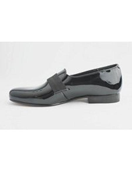 Mens Cushion Outsole Genuine Patent Black Slip on Mens Shoes Perfect for Prom and Wedding