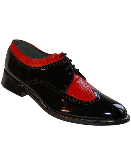 Mens 4 Eyelet Lacing Leather Sole Black~Red Shoes